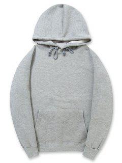 Casual Kangaroo Pocket Fleece Color Sólido Con Capucha - Nube Gris 2xl