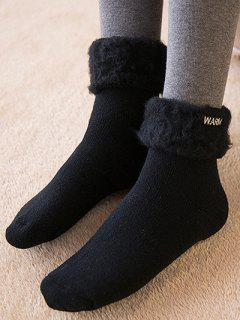 Winter Warm Embroidery Flanging Socks - Black