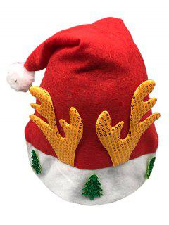 Antler Christmas Tree Embellished Party Hat - Lava Red
