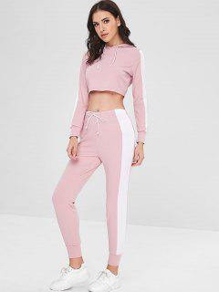 Contrast Crop Hoodie And Pants Set - Pink M