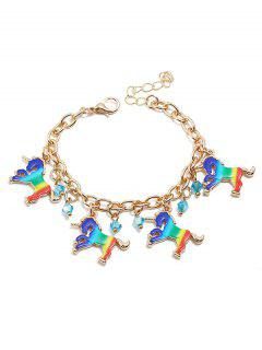 Cartoon Unicorn Geometric Decor Bracelet - Multi-a
