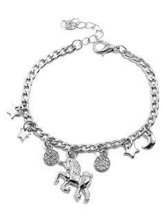 Pony Star Moon Decor Rhinestone Bracelet - Silver
