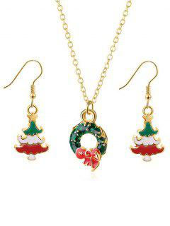 Statement Christmas Wreath Design Jewelry Set - Gold