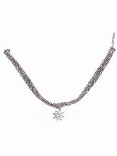 Snowflake Rhinestone Party Choker Necklace - Silver