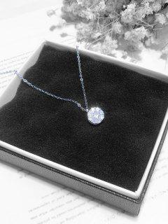 Minimalist Rhinestone Drop Necklace - Silver