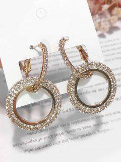 Minimalist Round Shape Rhinestone Earrings - Gold