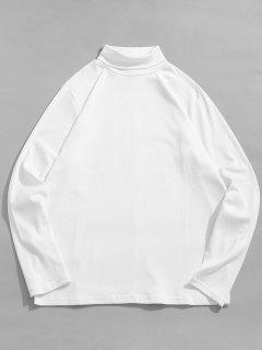 Turtleneck Solid Long Sleeve T-shirt - White S