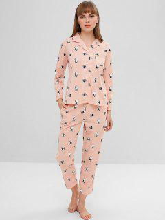 Dog Polka Dot Button Up Pajama Set - Light Pink 2xl