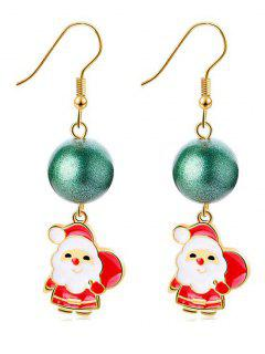 Christmas Santa Ball Decor Drop Earrings - Gold