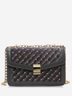 Rivets Square Design Crossbody Bag - Gray