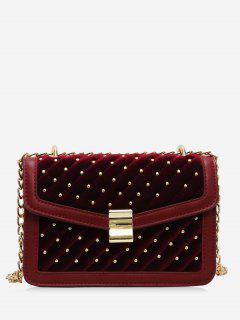 Rivets Square Design Crossbody Bag - Red Wine