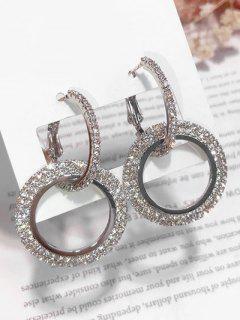 Minimalist Round Shape Rhinestone Earrings - Silver