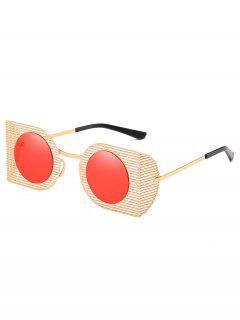 Hollow Out Metal Frame Novelty Sunglasses - Red