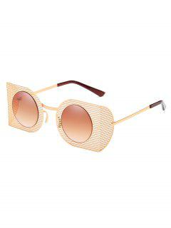 Hollow Out Metal Frame Novelty Sunglasses - Camel Brown