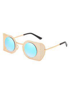 Hollow Out Metal Frame Novelty Sunglasses - Light Sky Blue