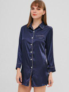 Satin Color Block Pocket Pajama Shirt Dress - Deep Blue L