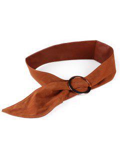 Round Buckle Suede Wide Belt - Light Brown