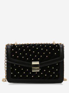 Rivets Square Design Crossbody Bag - Black