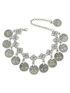 Ethnic Style Coins Design Alloy Anklet - Silver