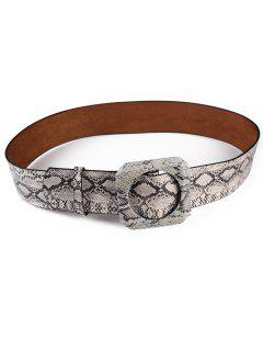 Retro Snake Pattern Artificial Leather Waist Belt - Beige