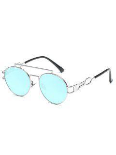 Anti Fatigue Crossbar Embellished Sunglasses - Light Sky Blue