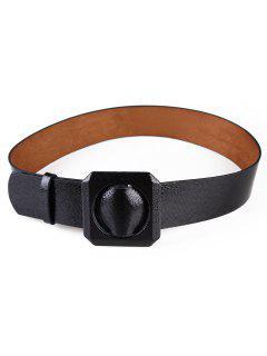 Retro Snake Pattern Artificial Leather Waist Belt - Black