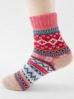 Ethnic Style Printing Thick Socks - Watermelon Pink