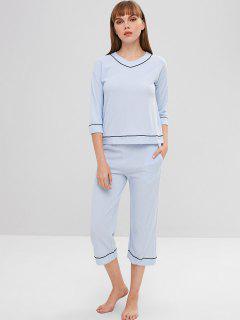 Ensemble De Pyjama à épaules Dénudées Et à Encolure En V - Bleu Clair L