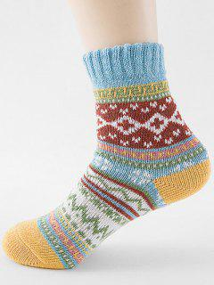 Ethnic Style Printing Thick Socks - Day Sky Blue
