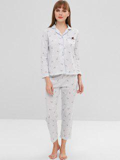 Pyjama-Set Mit Gepunktetem Schafdruck - Blaugrau Xl