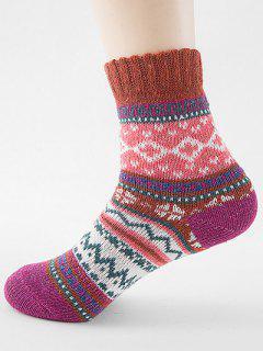 Ethnic Style Printing Thick Socks - Mahogany