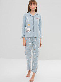 Rabbit Letter Button Up Pajama Set - Blue Koi 2xl