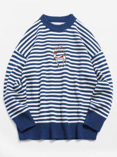 Elk Embroidery Stripe Knit Sweater - Blue L