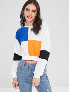 Crew Neck Colorblock Cropped Sweatshirt - White Xl