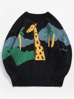 Giraffe Pullover Knit Sweater - Black M