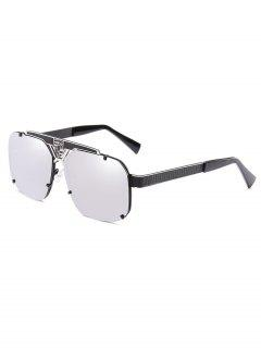 Hollow Out Metal Frame Driving Sunglasses - Silver