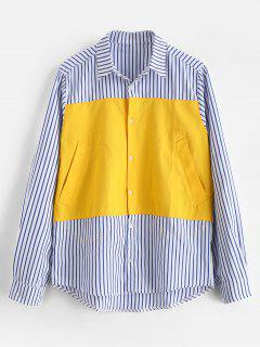 Chest Patchwork Stripe Shirt - Rubber Ducky Yellow L