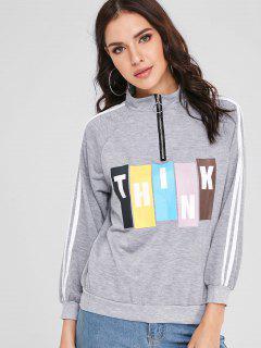 Half Zip Patterned Pullover Sweatshirt - Gray Cloud Xl