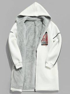 Graphic Faux Fur Lined Trench Coat - White S