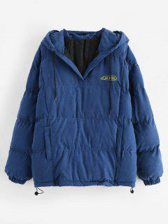 Pullover Puffer Hooded Jacket - Blue Xl