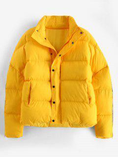 Sleeve Zipper Design Puffer Jacket - Yellow L
