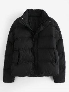 Sleeve Zipper Design Puffer Jacket - Black L