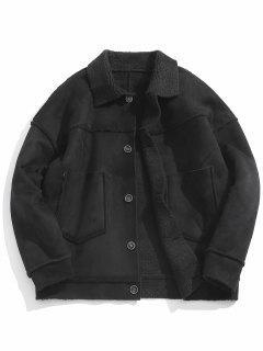 Solid Suede Thicken Jacket - Black Xs