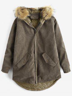 Detachable Faux Fur Corduroy Coat - Army Green L