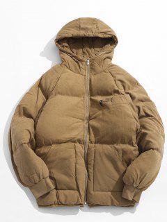 Animal Print Puffer Jacket - Khaki M