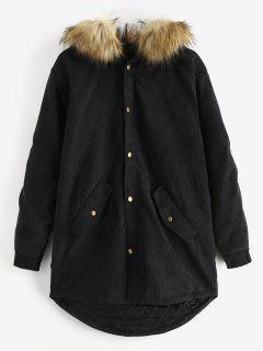 Detachable Faux Fur Corduroy Coat - Black S