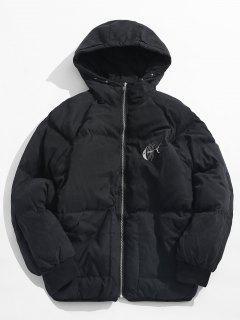 Animal Print Puffer Jacket - Black M