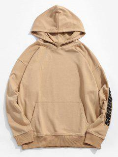 Kangaroo Pocket Pullover Letter Embroidery Hoodie - Camel Brown M