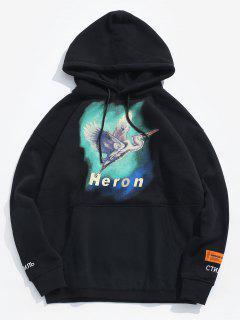 Heron Pattern Fleece Pullover Hoodie - Black M