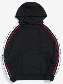 Pullover Raglan Sleeve Letter Pattern Hoodie - Black L